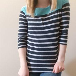 Three-Quarter Sleeve Stripe Blue Top
